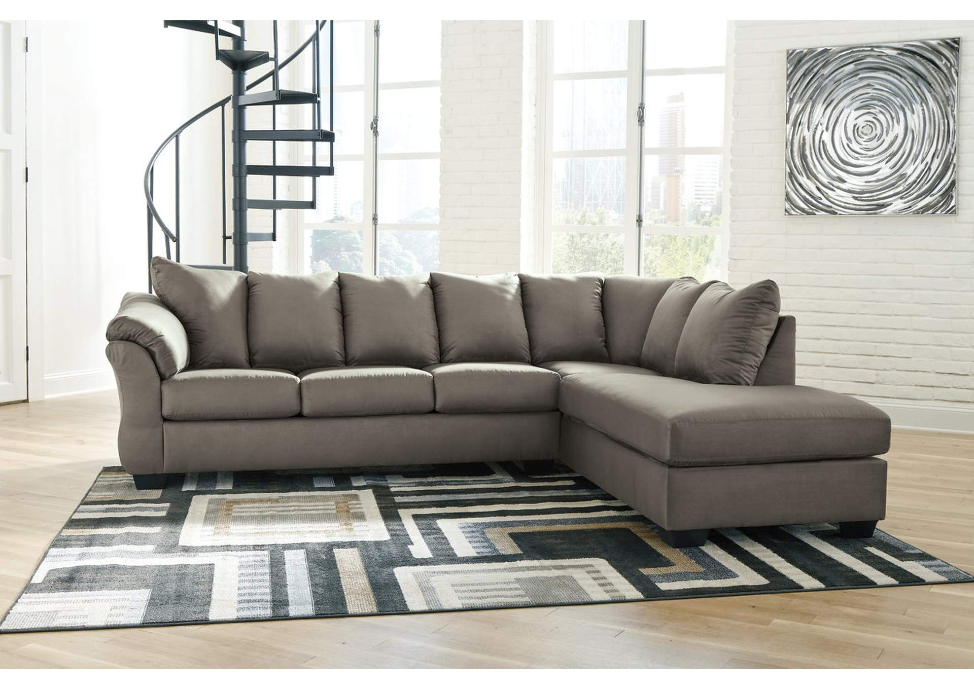 Darcy Cobblestone RAF Chaise Sectional,Signature Design By Ashley