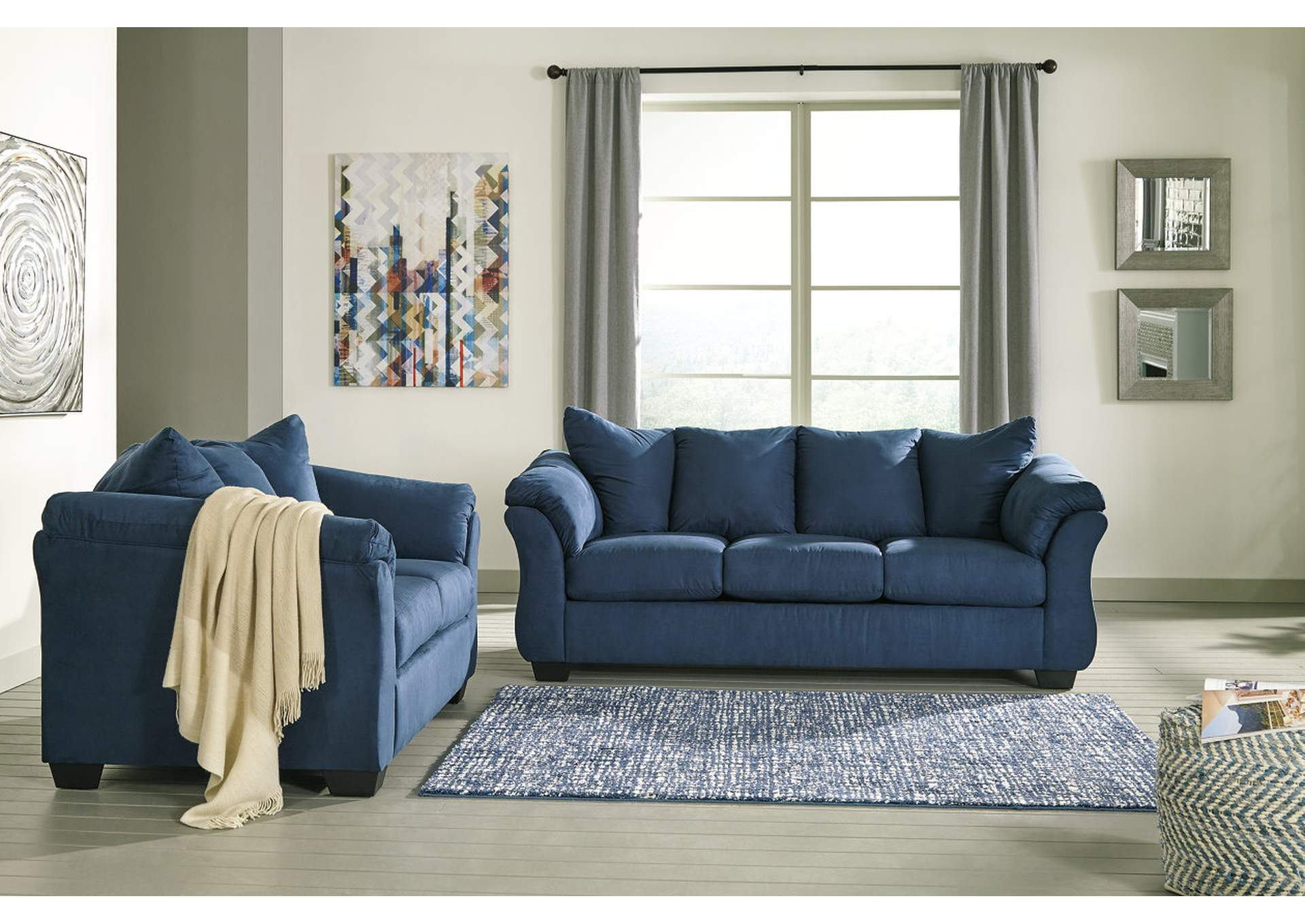 Darcy Blue Sofa And Loveseat,Signature Design By Ashley