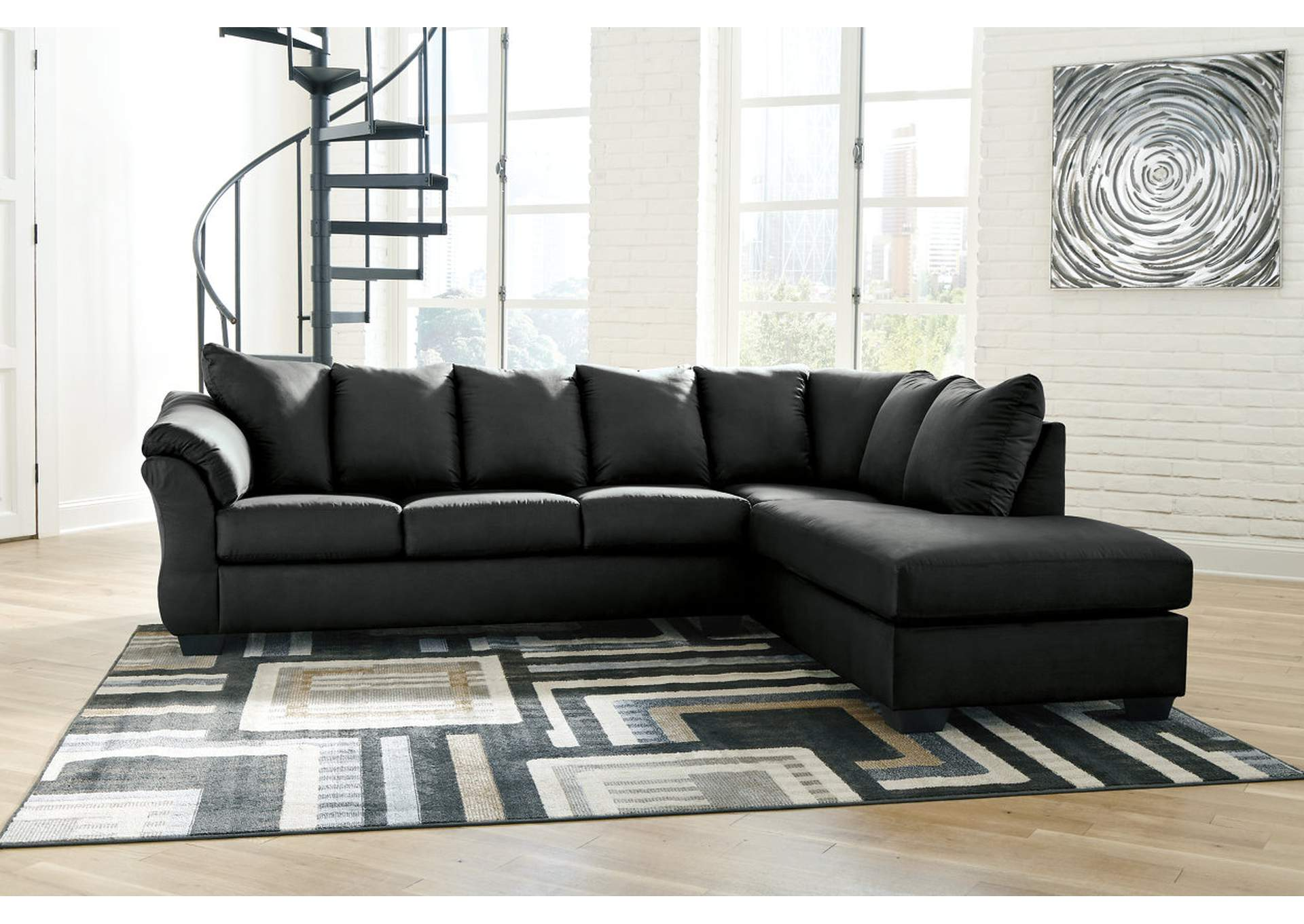 Darcy Black RAF Chaise Sectional,Signature Design By Ashley