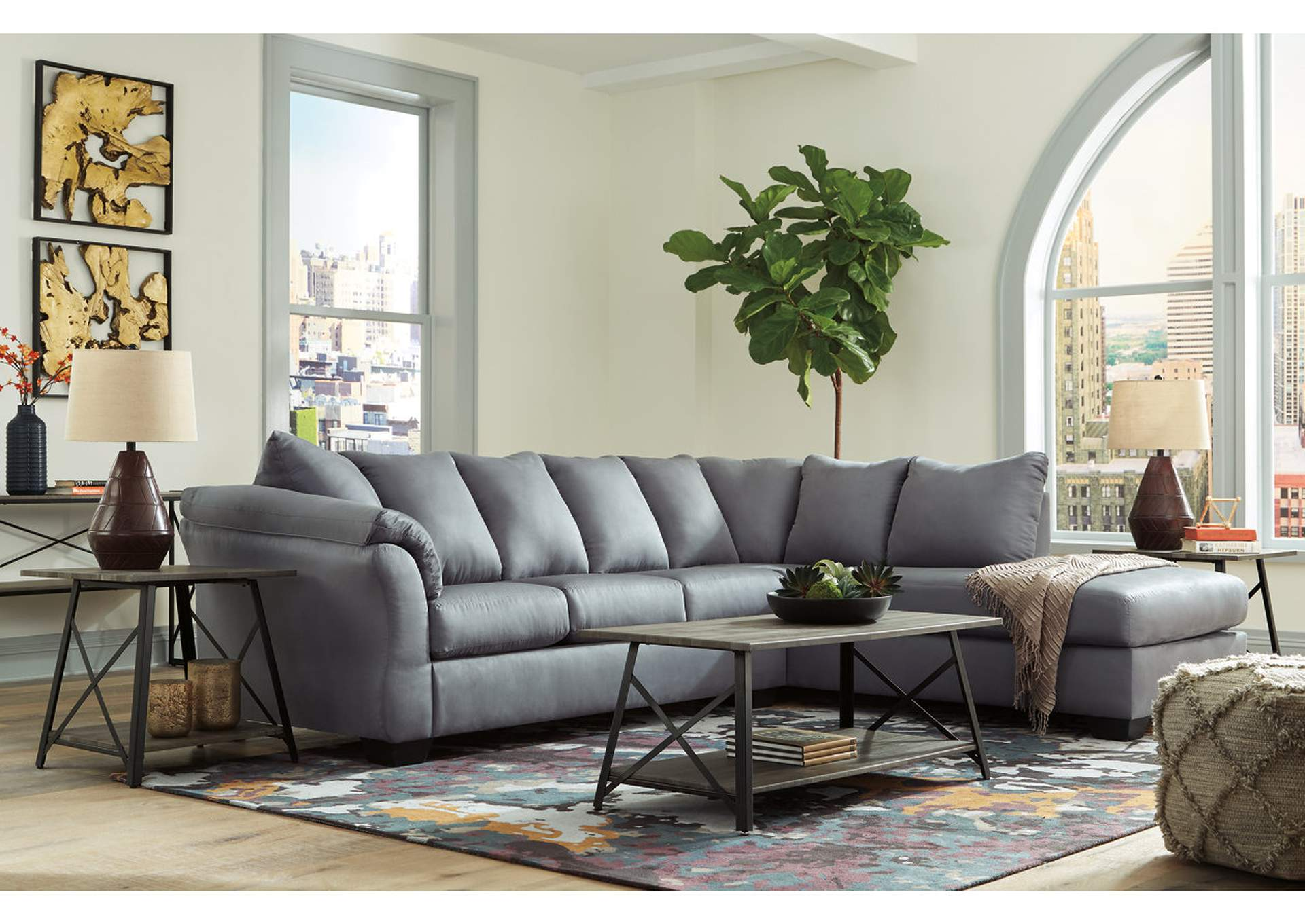 Darcy Steel RAF Chaise Sectional,Signature Design By Ashley