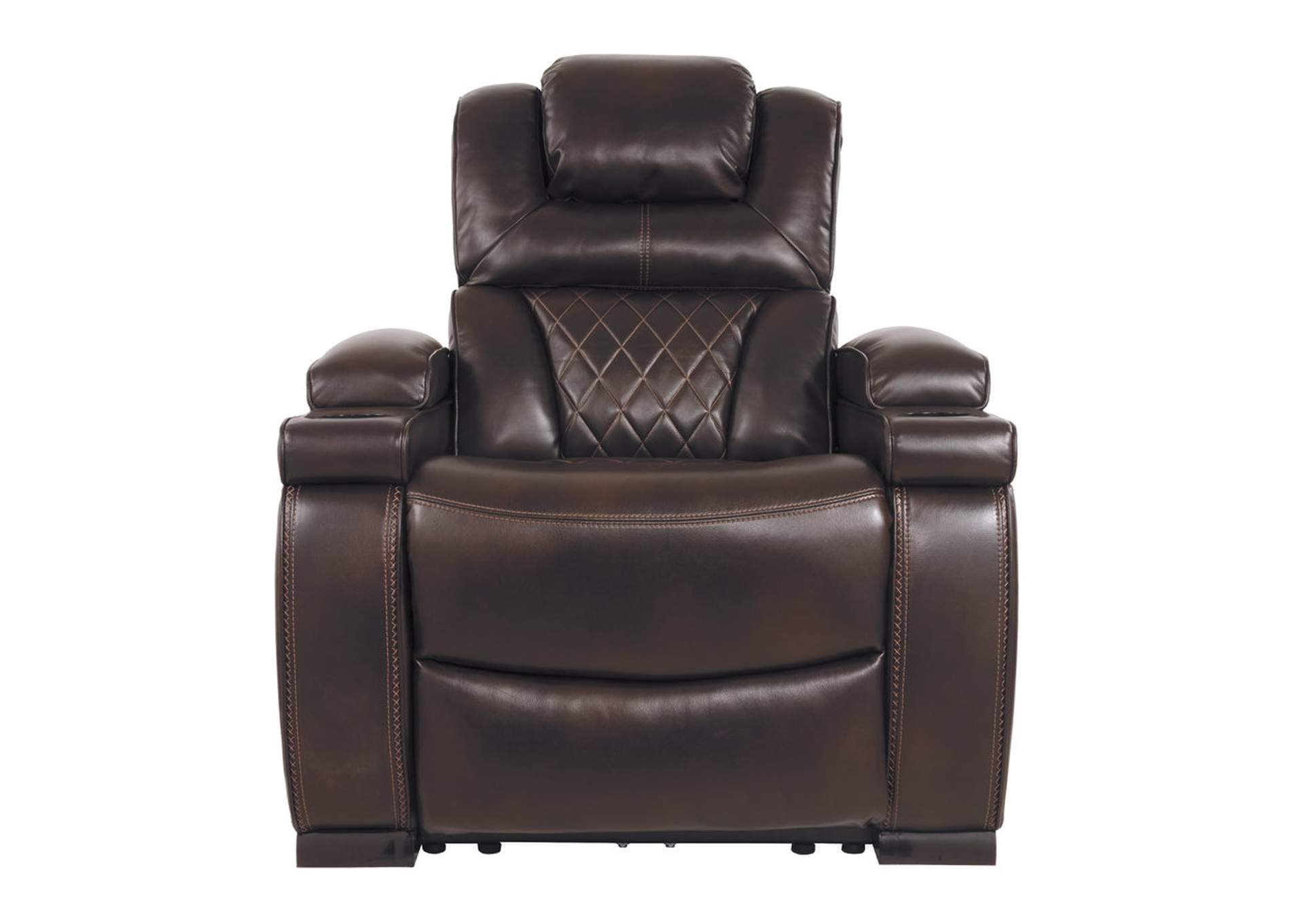 Warnerton Chocolate Power Recliner w/Adjustable Headrest,Signature Design By Ashley