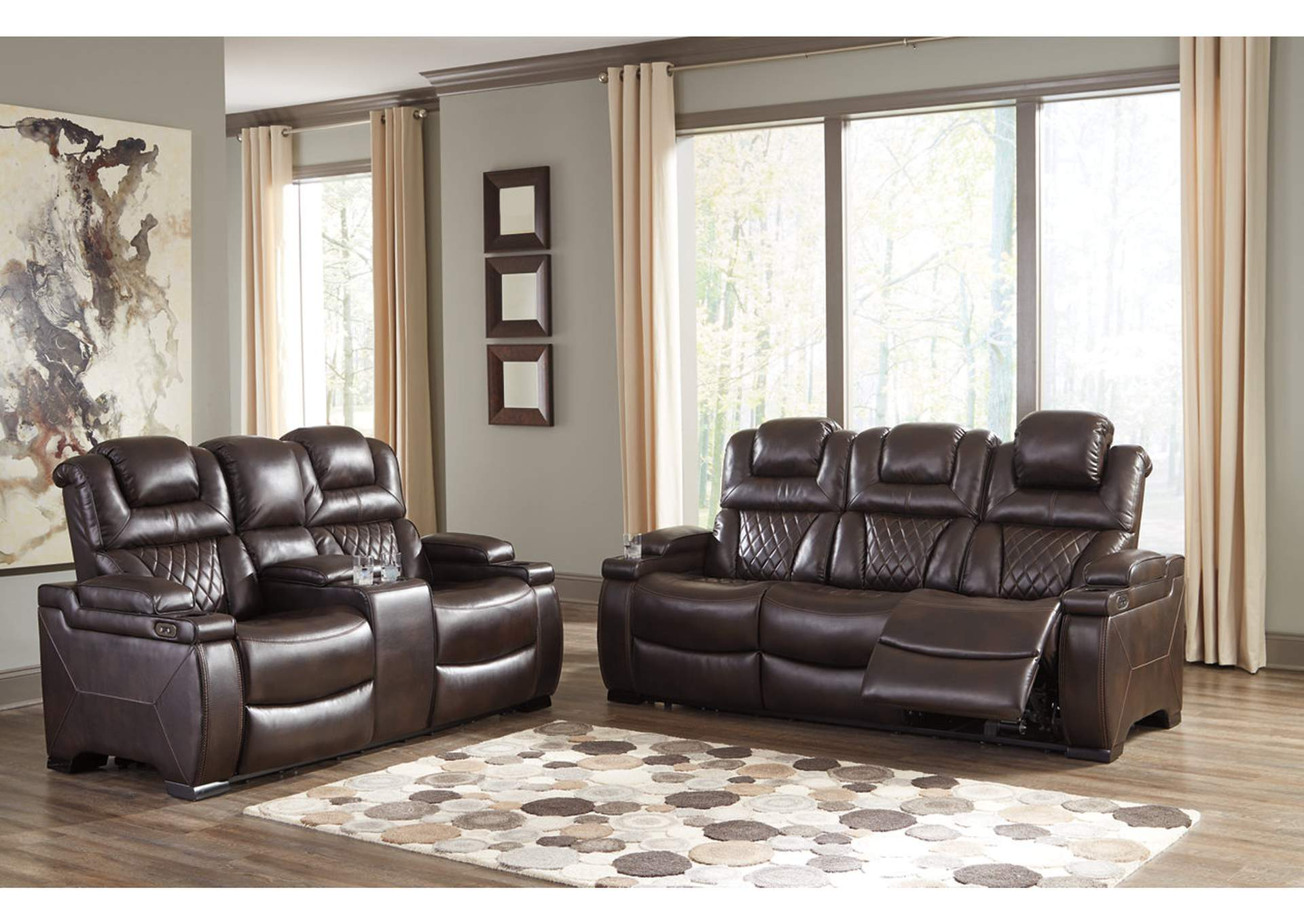 Warnerton Chocolate Power Reclining Sofa and Loveseat,Signature Design By Ashley