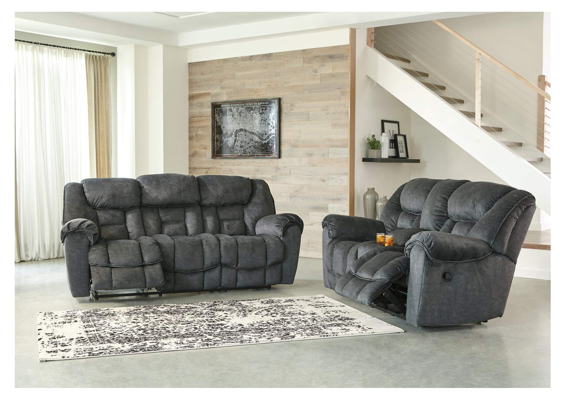 Capehorn Granite Reclining Sofa and Loveseat w/Console,Signature Design By Ashley