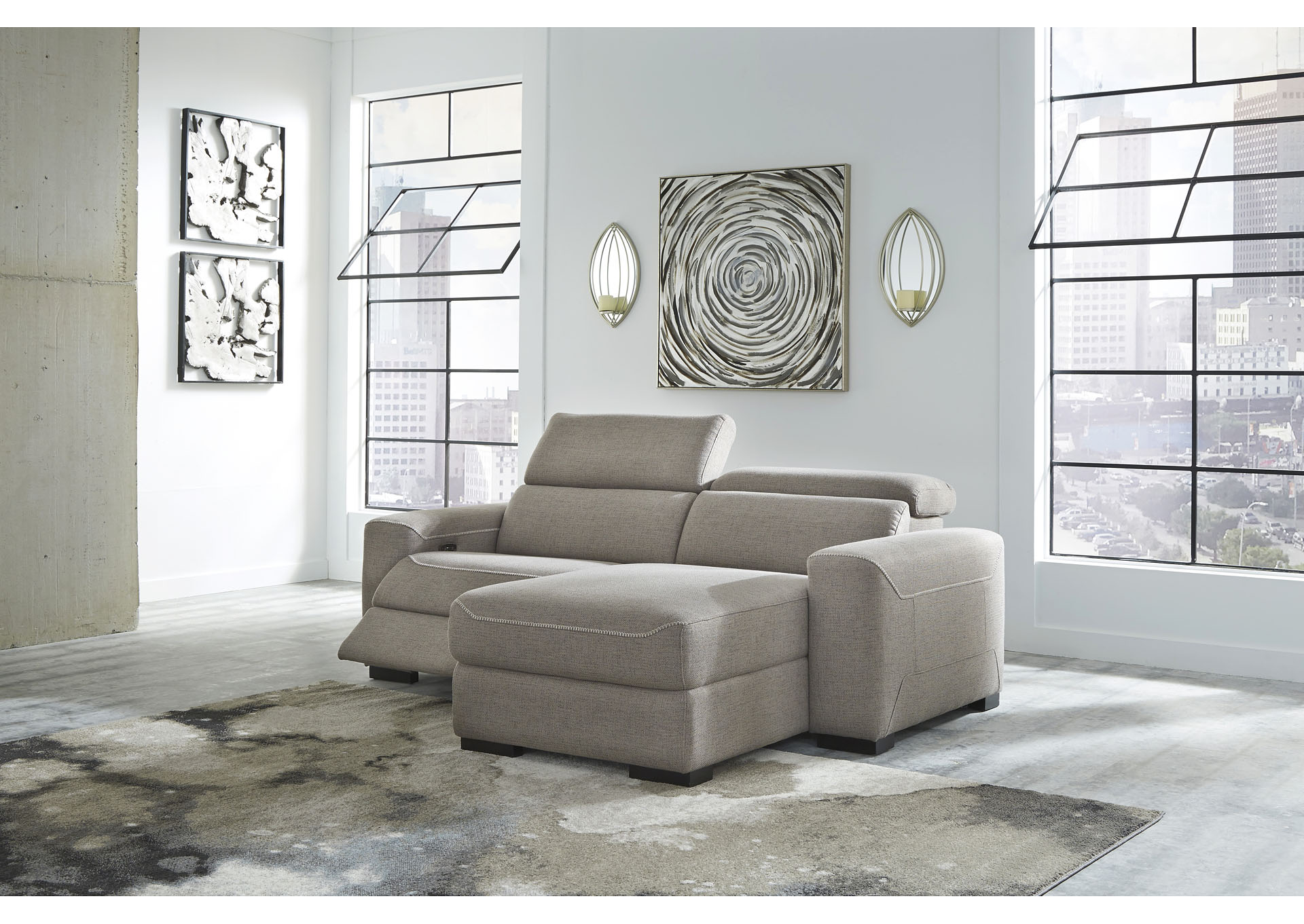 Mabton Gray Right-Arm Facing Power Reclining 2 Piece Sectional Chaise,Signature Design By Ashley