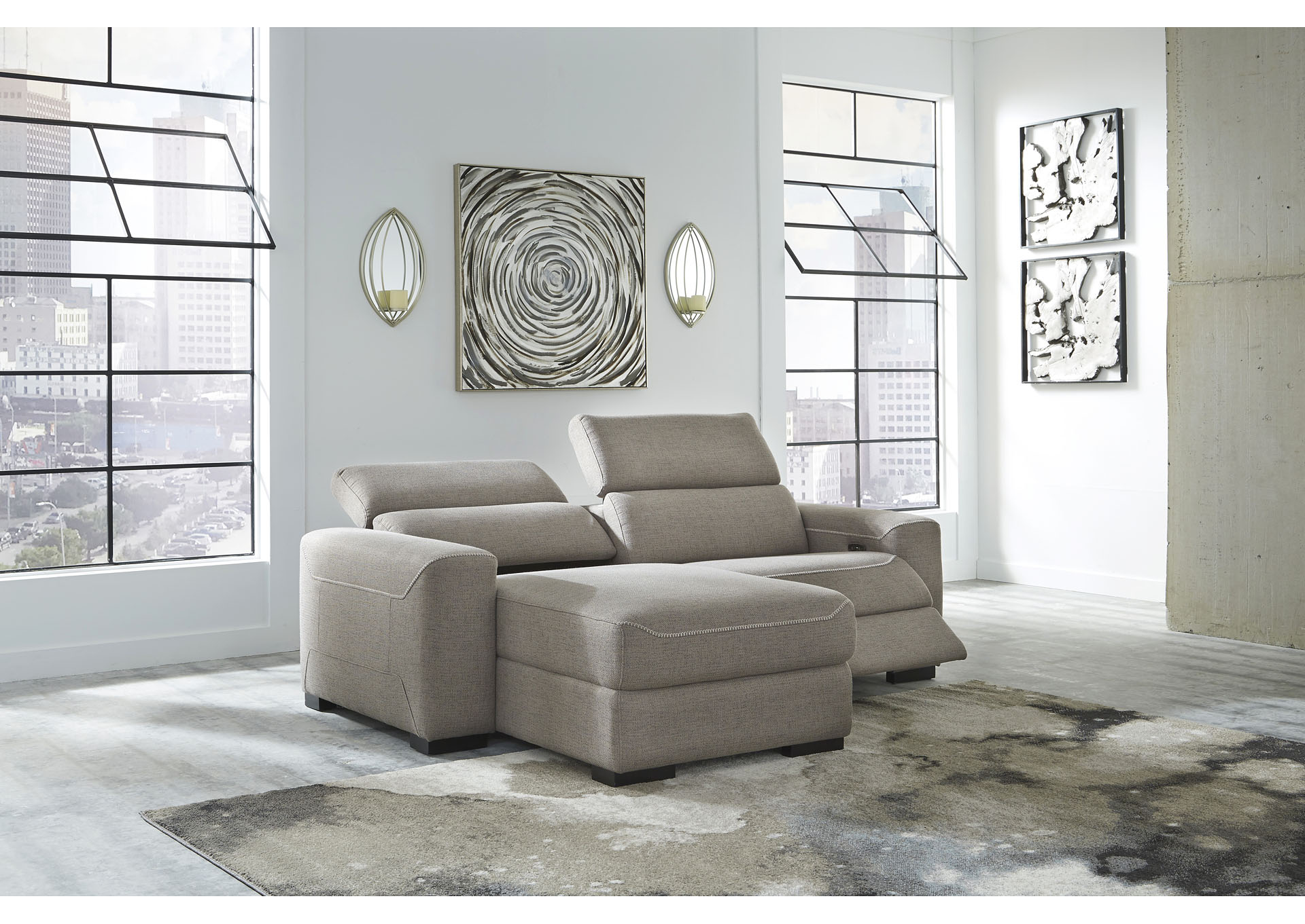 Mabton Gray Left-Arm Facing Power Reclining 2 Piece Sectional Chaise,Signature Design By Ashley