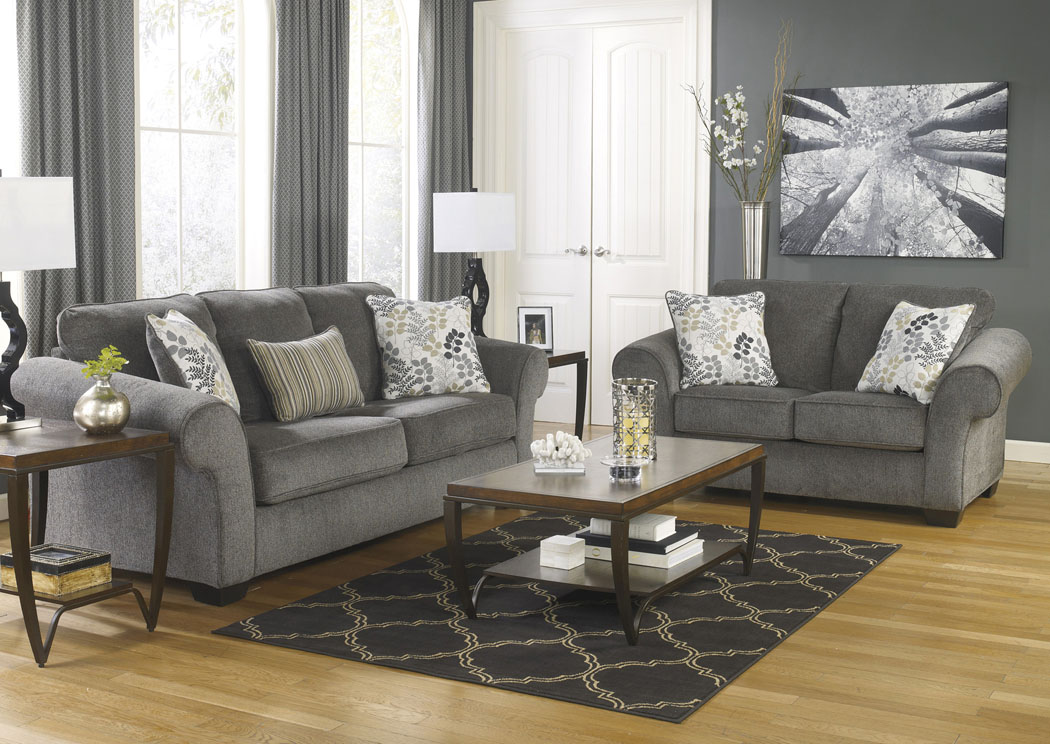 charcoal living room furniture todd s affordable furniture makonnen charcoal sofa amp loveseat 12794