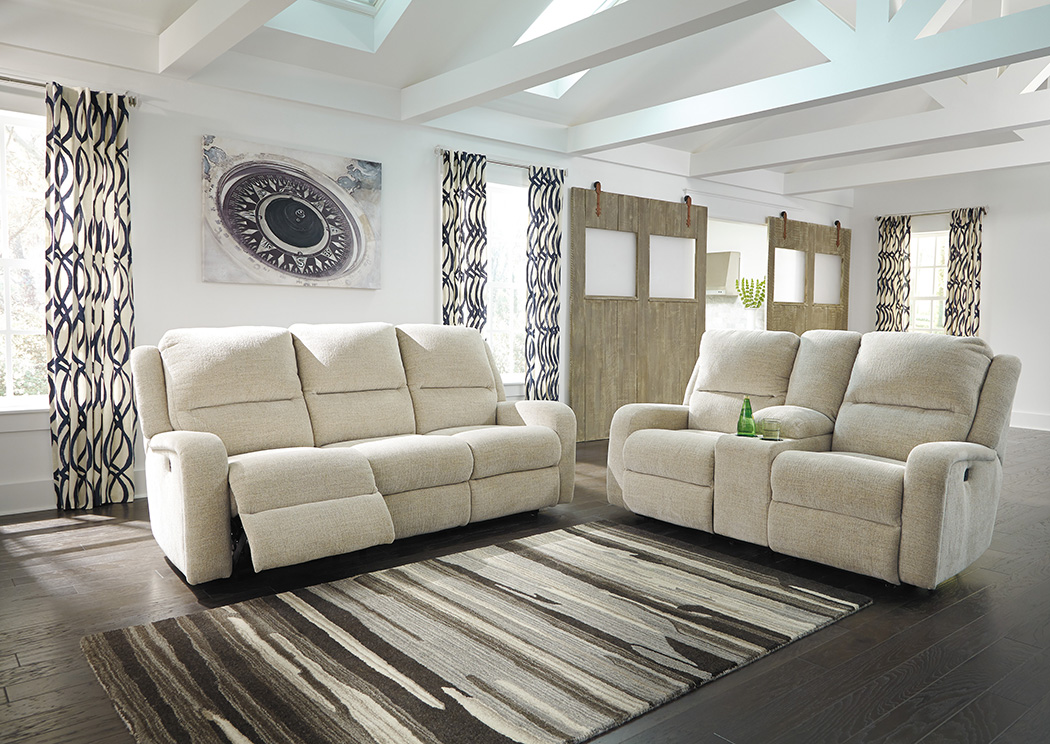 Krismen Sand Power Reclining Sofa and Loveseat w/Adjustable Headrest,Signature Design By Ashley