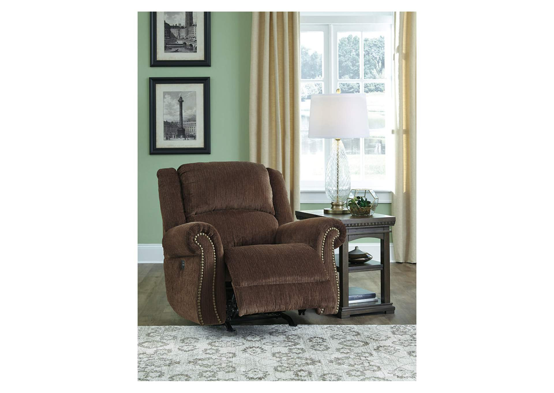 Goodlow Chocolate Power Reclining Rocker w/Adjustable Headrest,Signature Design By Ashley