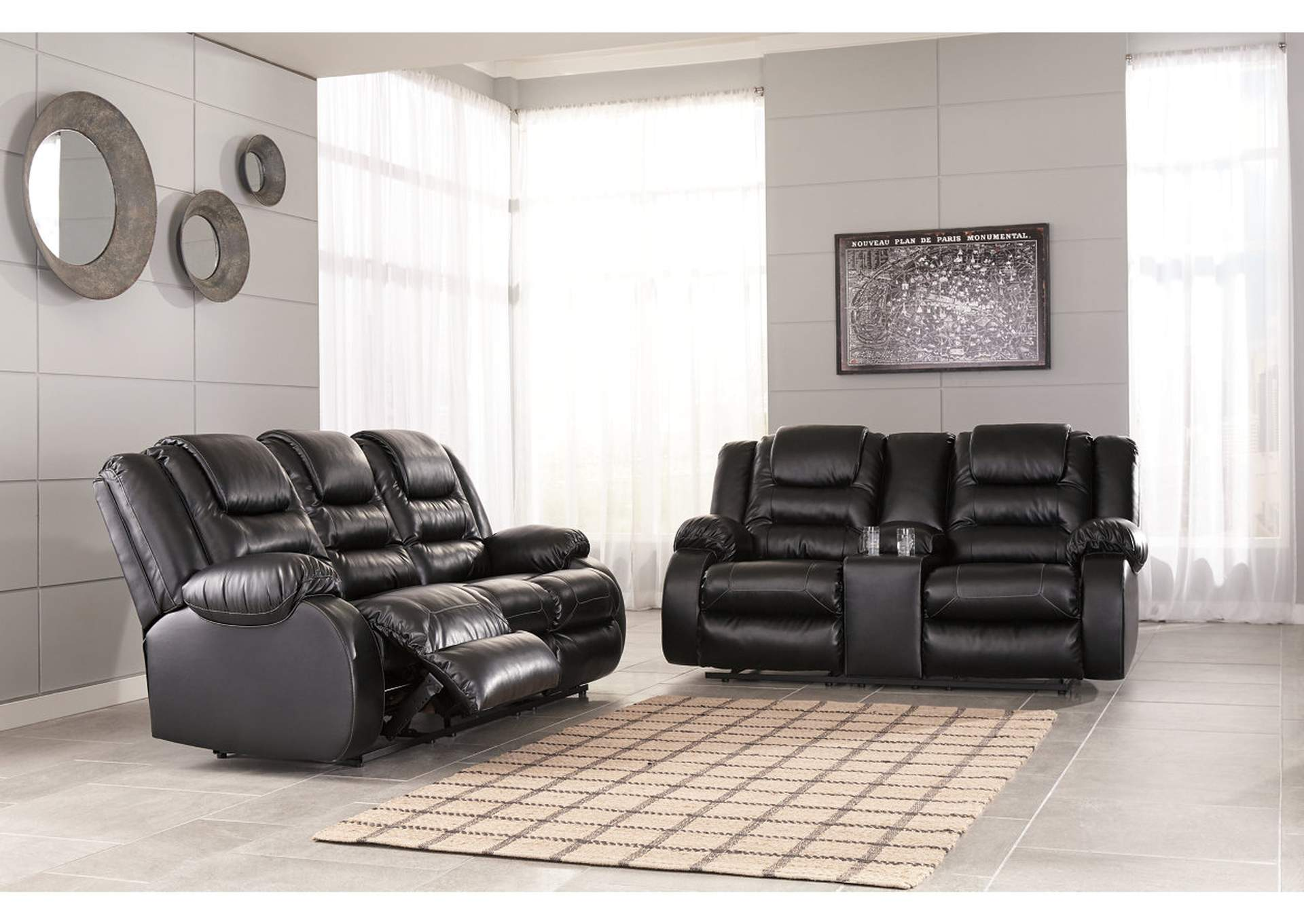 Vacherie Black Reclining Sofa and Double Loveseat w/Console,Signature Design By Ashley