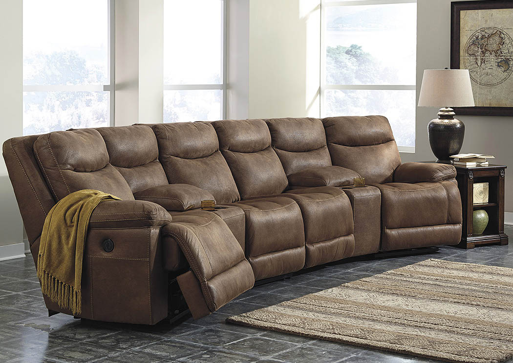 Goreeu0027s Furniture   Opelika, AL Valto Saddle Left Facing Sectional W/2  Storage Consoles And Right Facing Zero Wall Recliner