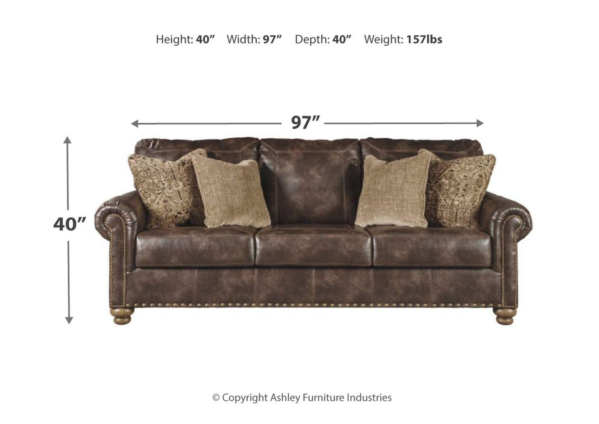 Nicorvo Coffee PU Leather Sofa,Signature Design By Ashley