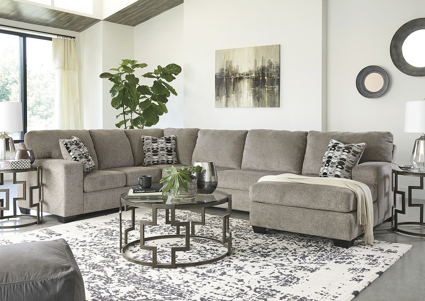 Ballinasloe Platinum RAF Chaise Sectional,Signature Design By Ashley