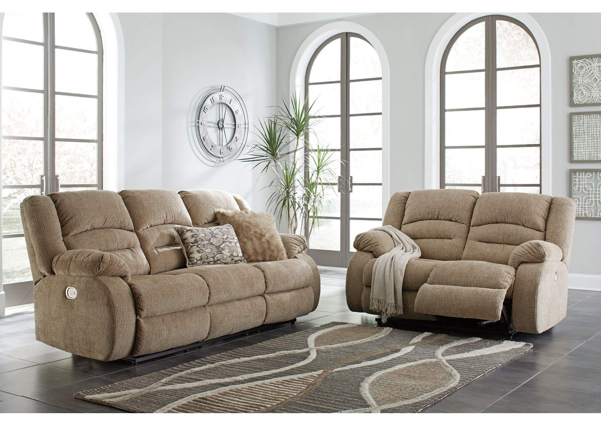 Labarre Mocha Power Reclining Sofa and Loveseat with ADJ Headrest,Signature Design By Ashley