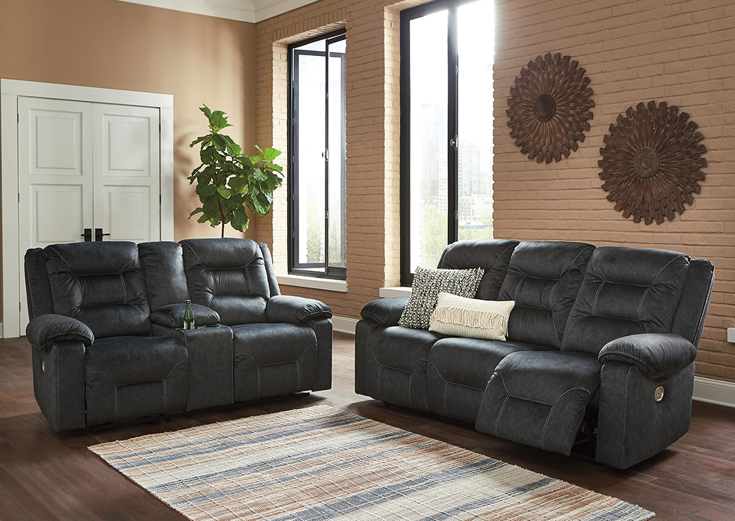 Waldheim Gray Power Reclining Sofa and Loveseat with ADJ Headrest,Signature Design By Ashley