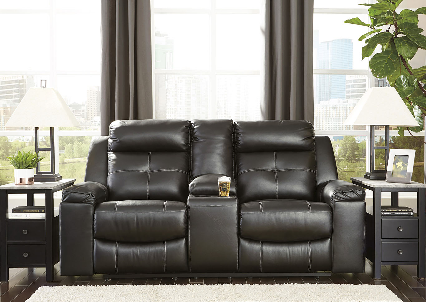 Kempten Black Recliner Loveseat w/Console,Signature Design By Ashley