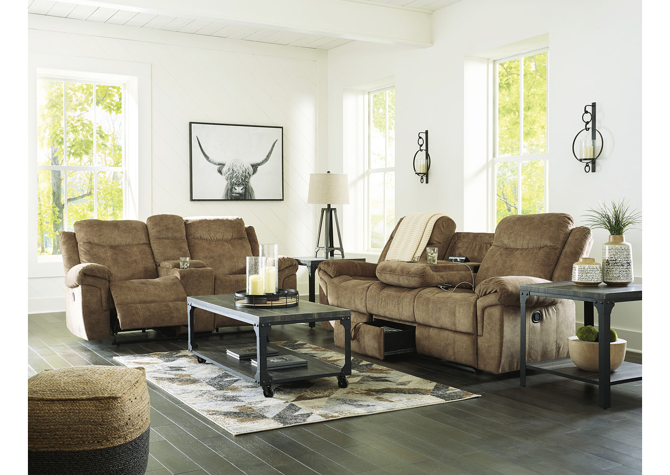 Huddle-Up Nutmeg Reclining Sofa and Loveseat w/Console and Drop Down Table,Signature Design By Ashley