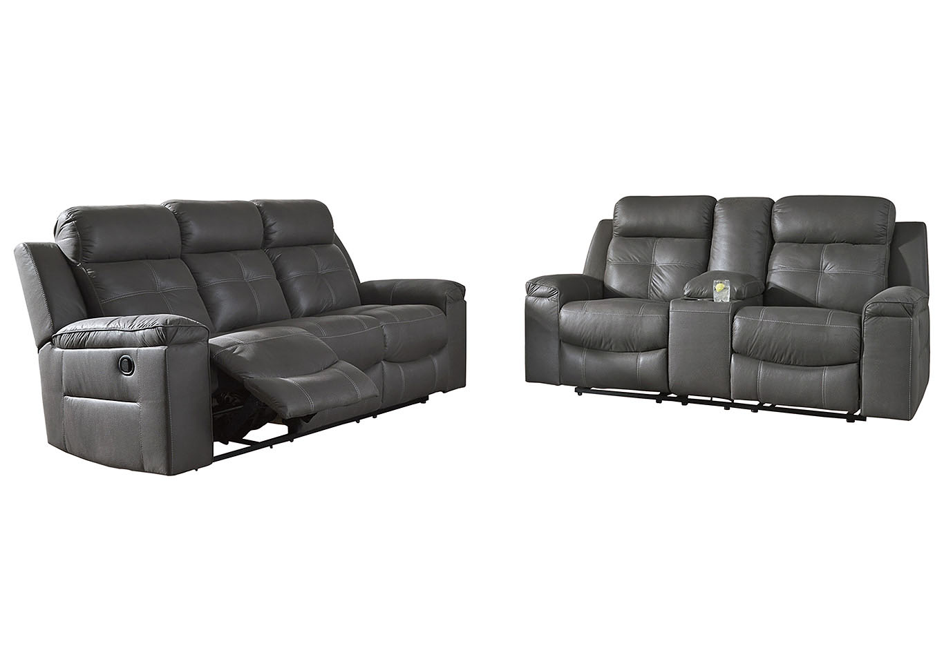 Tampa Furniture Outlet Jesolo Dark Gray Reclining Sofa Loveseat