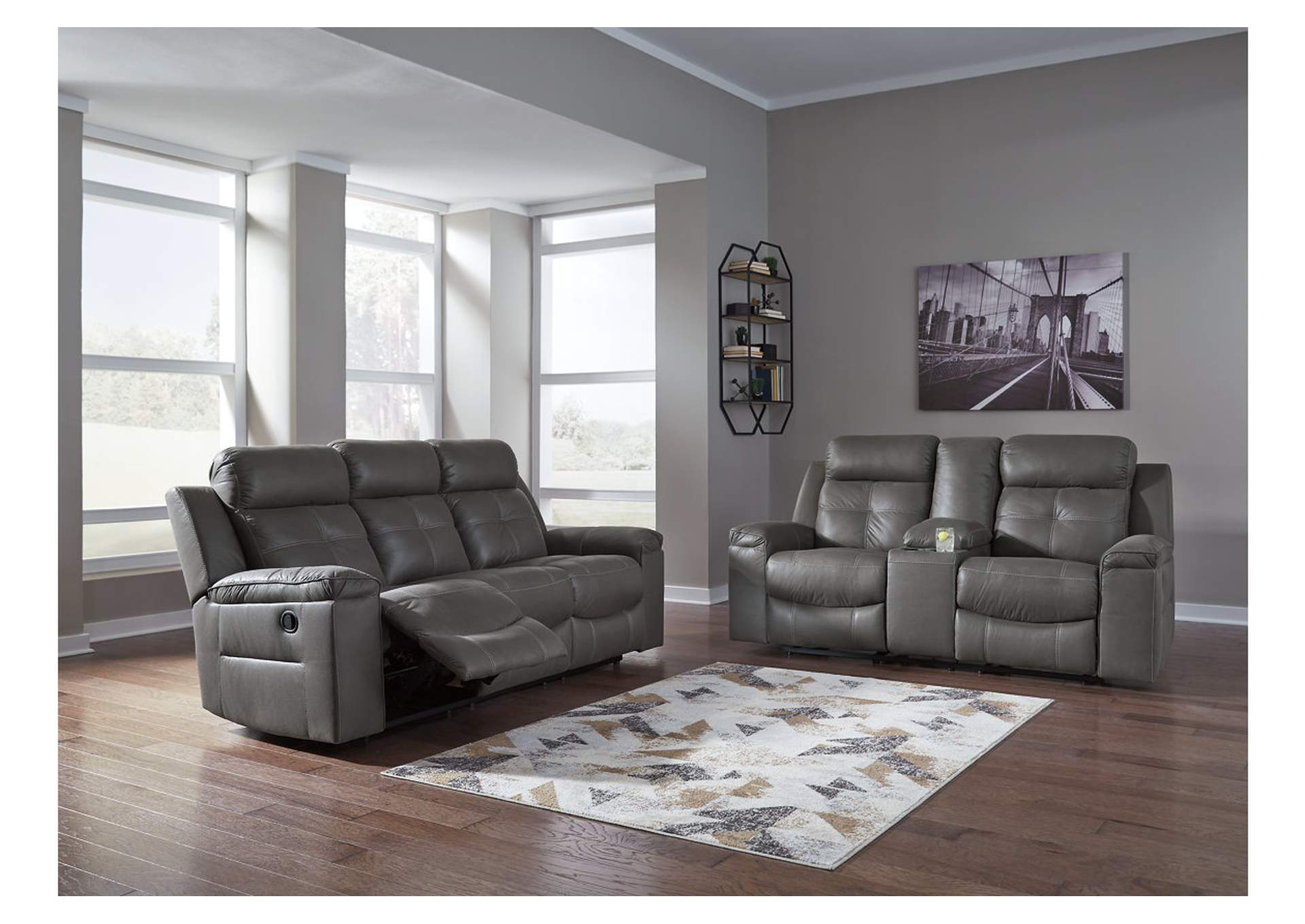 Ivan Smith Jesolo Dark Gray Reclining Sofa Loveseat