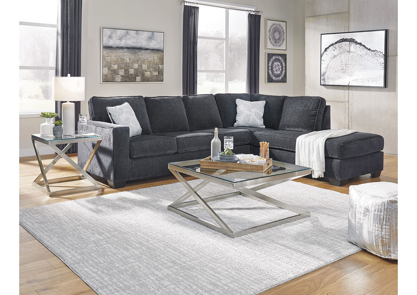 Altari Slate Left-Arm Facing Chaise Sectional,Signature Design By Ashley