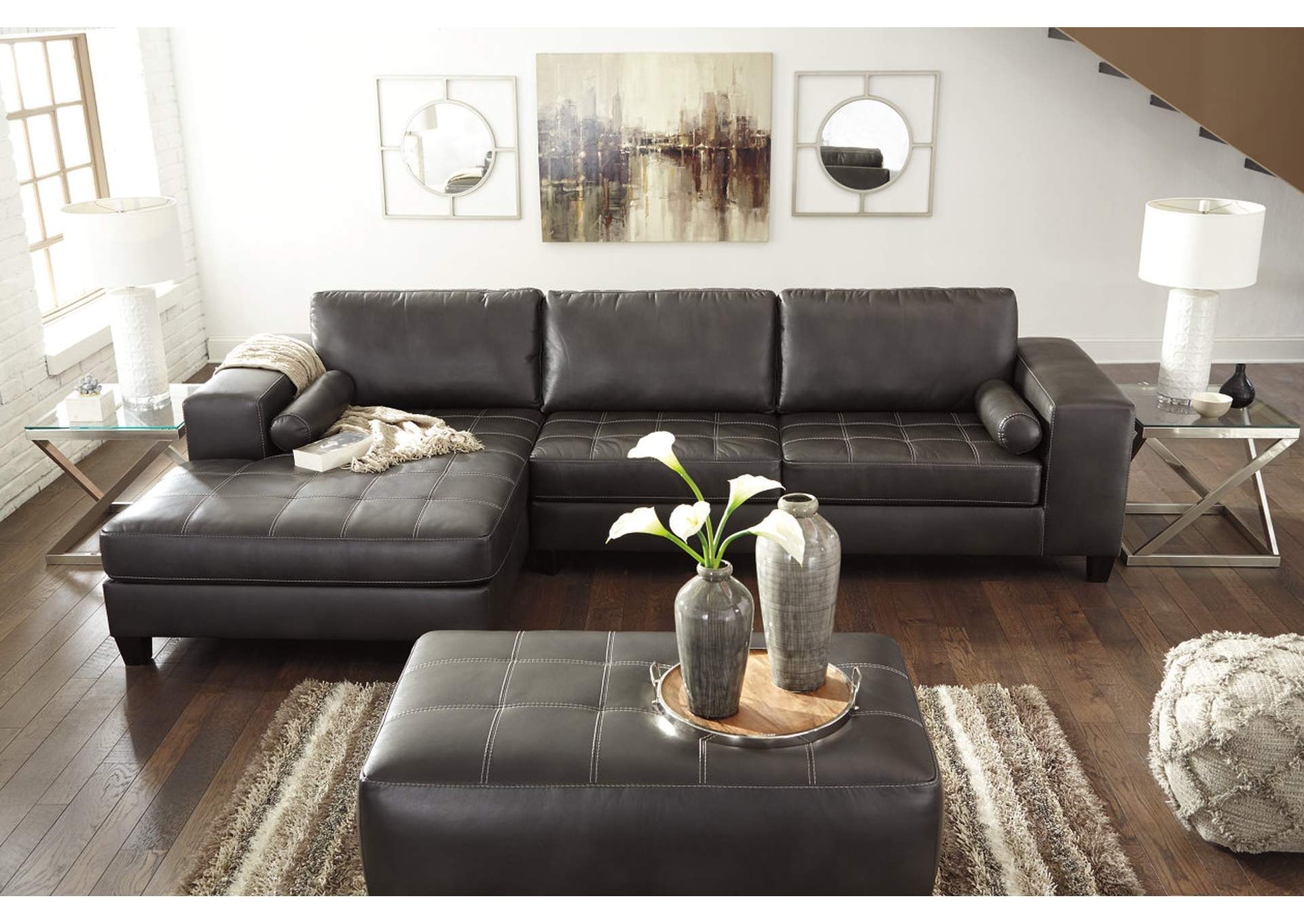 Nokomis Charcoal Left Facing Corner Chaise Sectional,Signature Design By Ashley