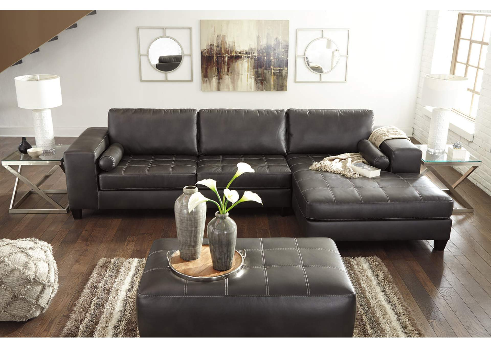 Nokomis Charcoal RAF Corner Chaise Sectional,Signature Design By Ashley