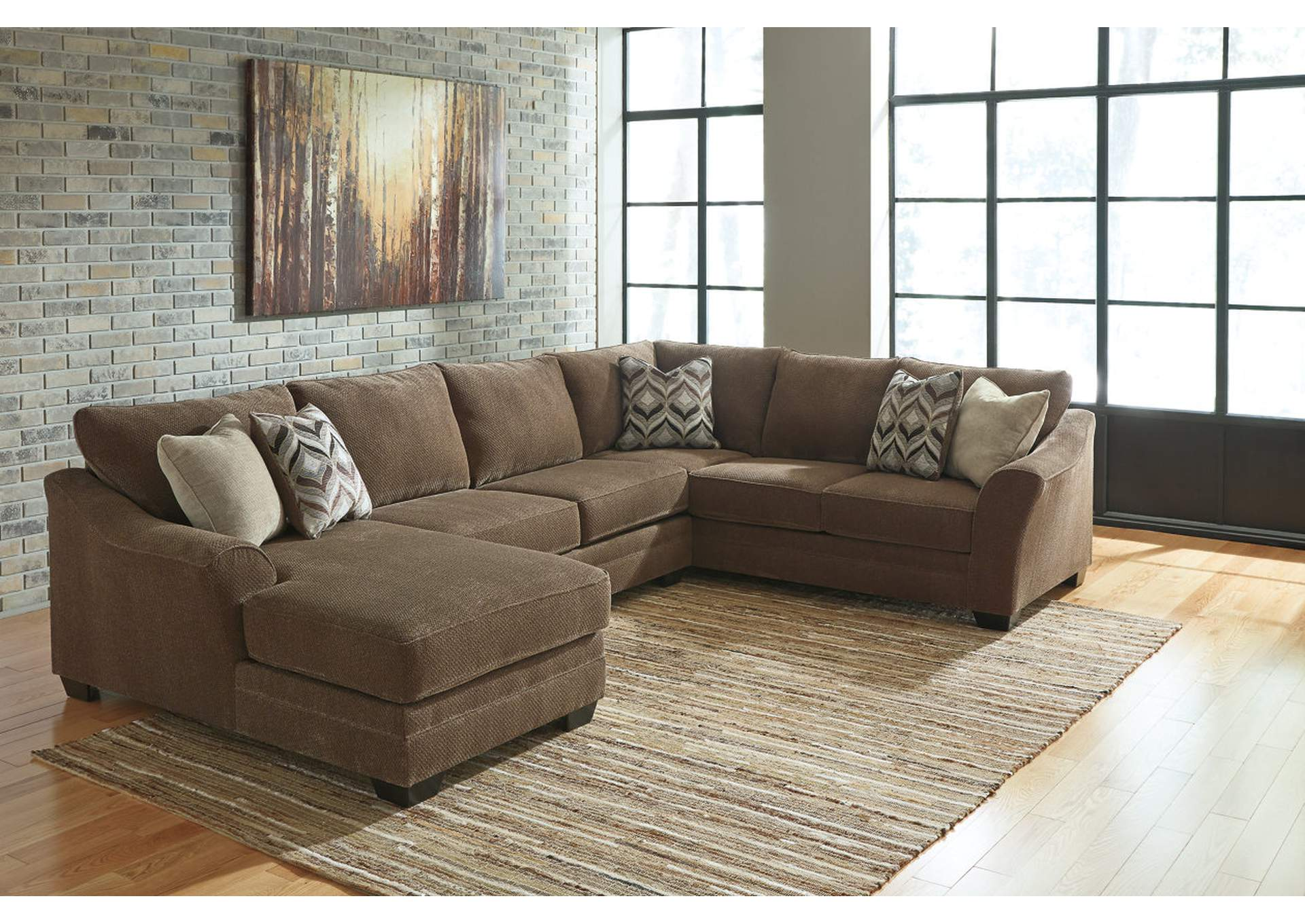 Justyna Teak Sectional w/Left Facing Corner Chaise,Benchcraft
