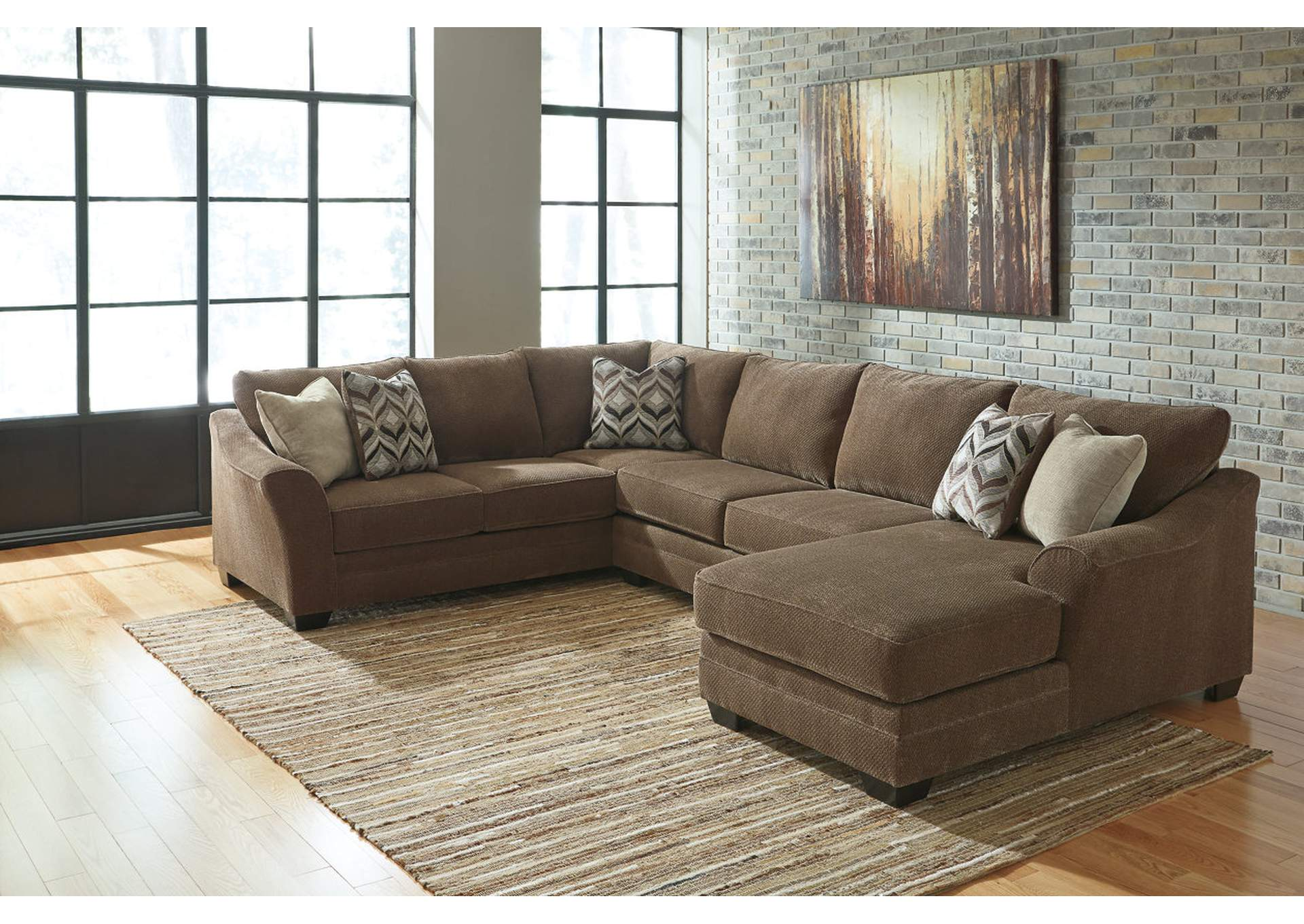 Justyna Teak Sectional w/Right Facing Corner Chaise,Benchcraft
