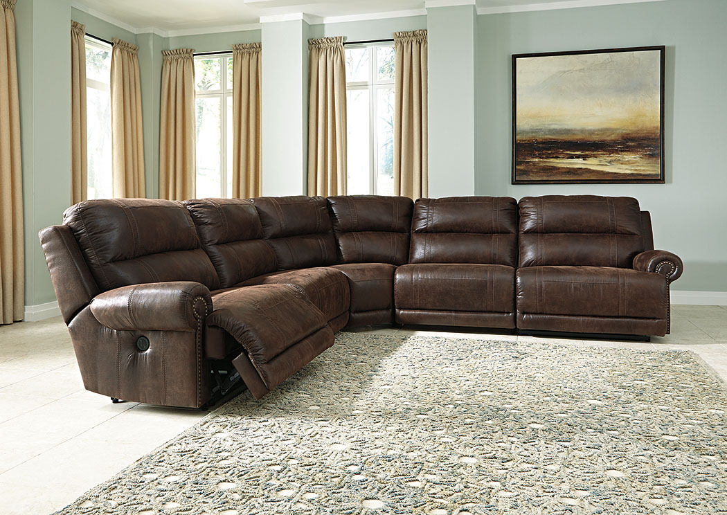 Luttrell Espresso Zero Wall Reclining Sectional,Signature Design By Ashley