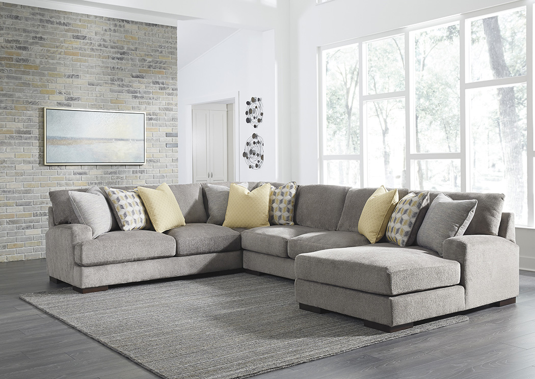 Fallsworth Smoke Left Facing Loveseat Sectional,Benchcraft