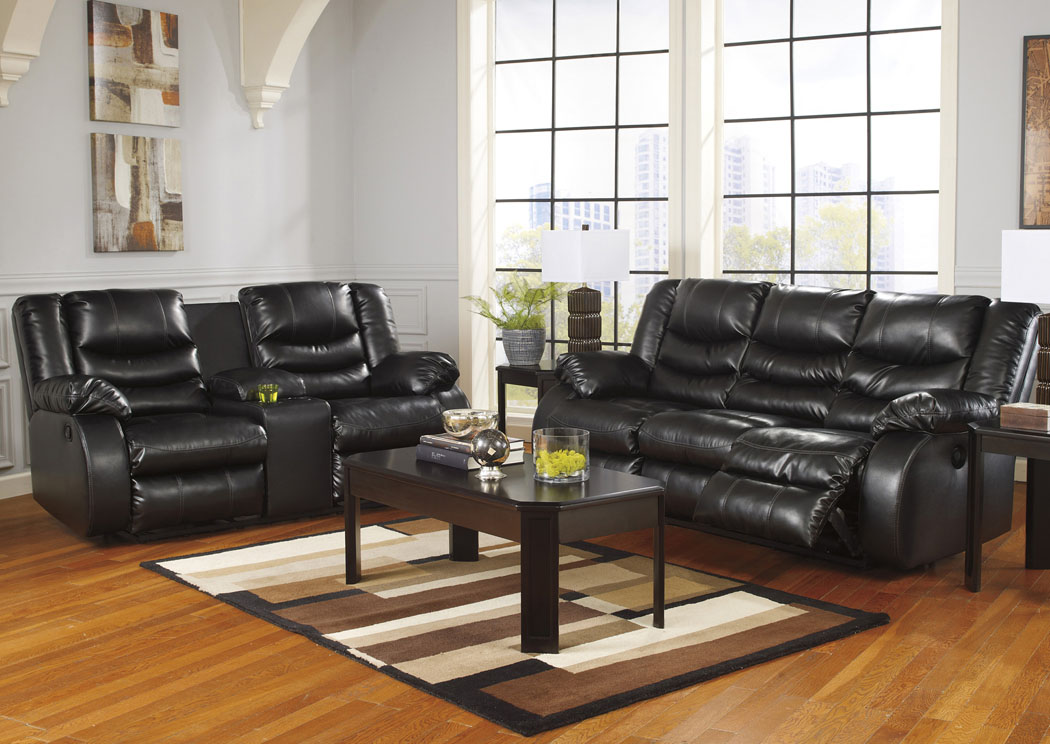 Linebacker DuraBlend® Black Reclining Sofa and Double Reclining Loveseat w/Console,Signature Design By Ashley