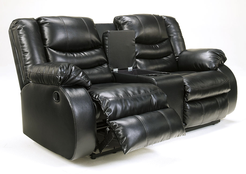Linebacker DuraBlend Black Double Reclining Loveseat,Signature Design By Ashley