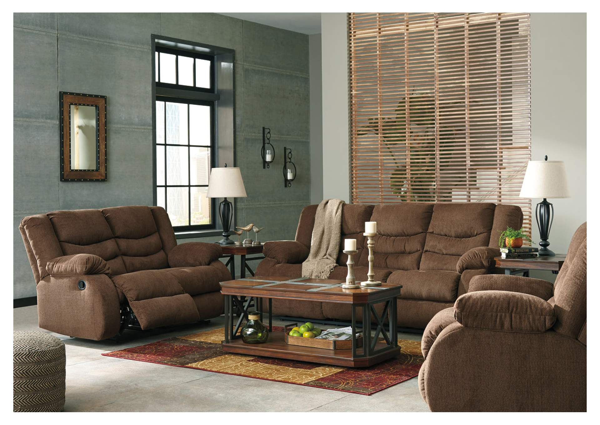 Tulen Chocolate Reclining Sofa,Signature Design By Ashley