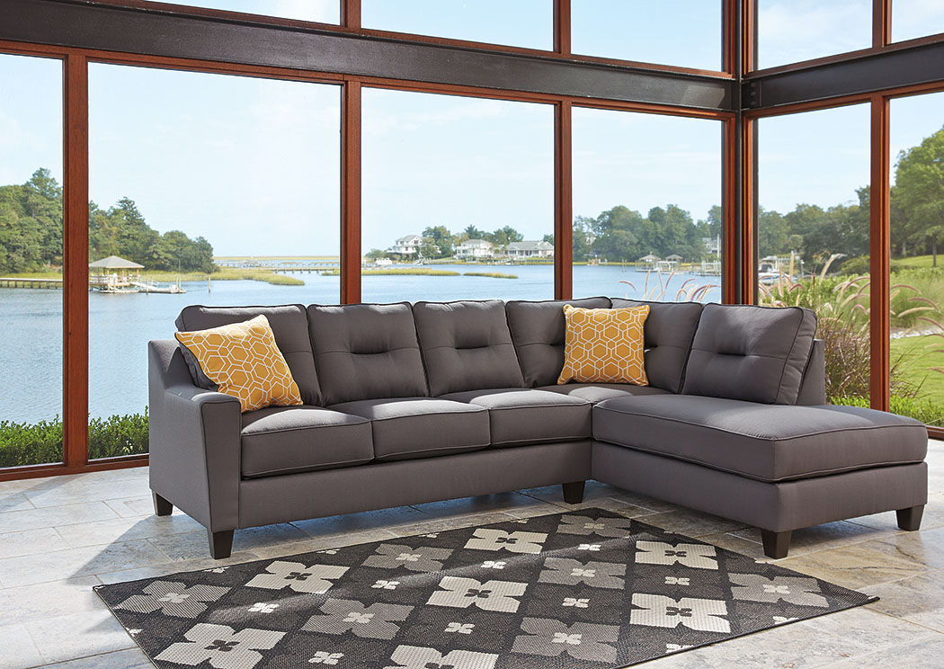 Kirwin Nuvella Gray Right Facing Corner Chaise Sectional,Benchcraft