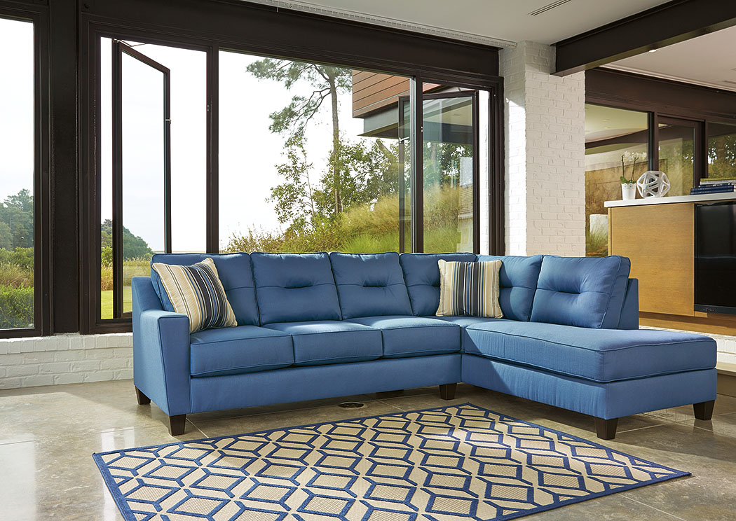 Ivan Smith Kirwin Nuvella Blue Right Facing Corner Chaise