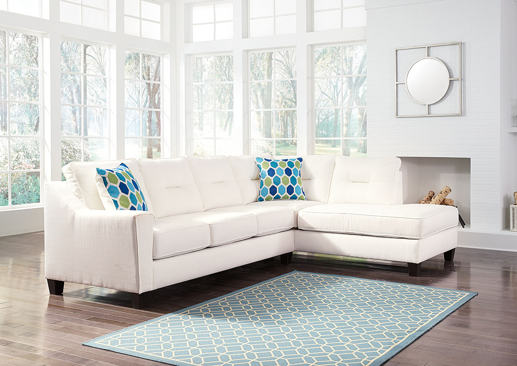 Kirwin Nuvella White Right Facing Corner Chaise Sectional,Benchcraft