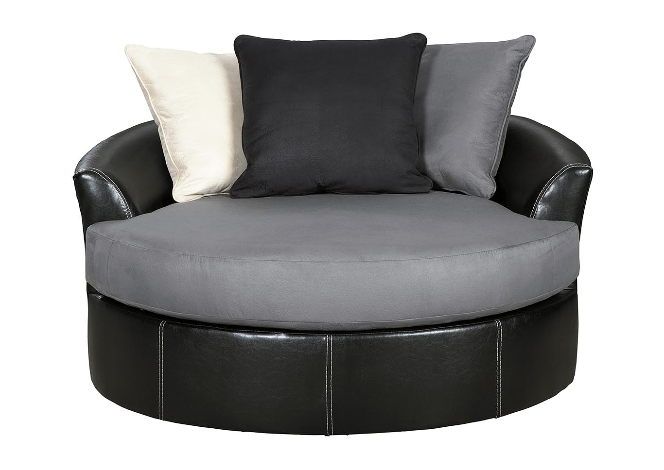 Strange Ivan Smith Jacurso Charcoal Oversized Swivel Accent Chair Beatyapartments Chair Design Images Beatyapartmentscom