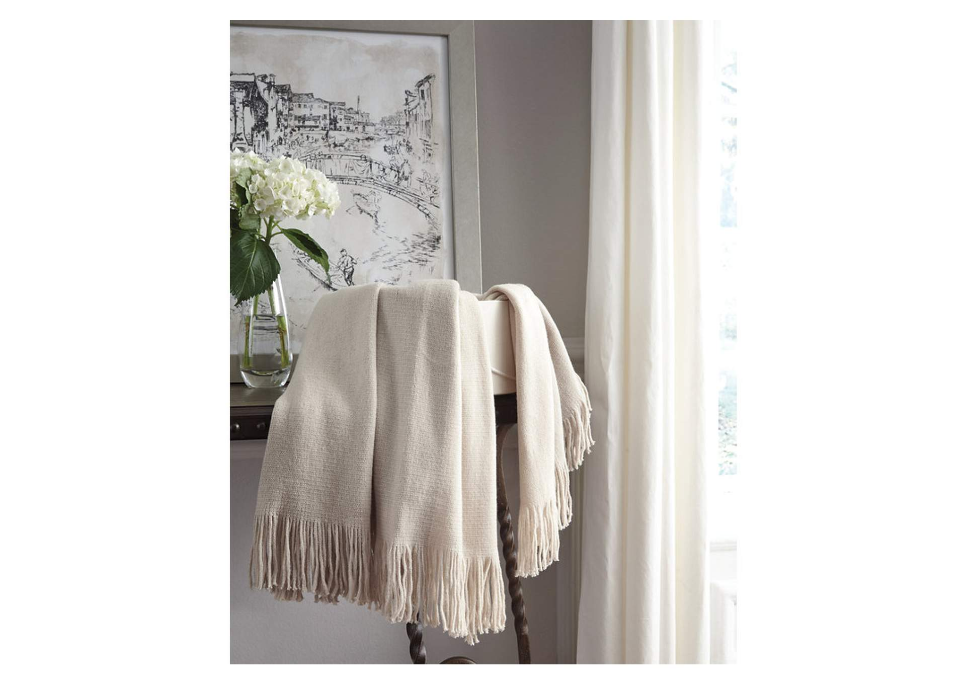 Haiden Ivory/Taupe Throw (Set of 3),48 Hour Quick Ship
