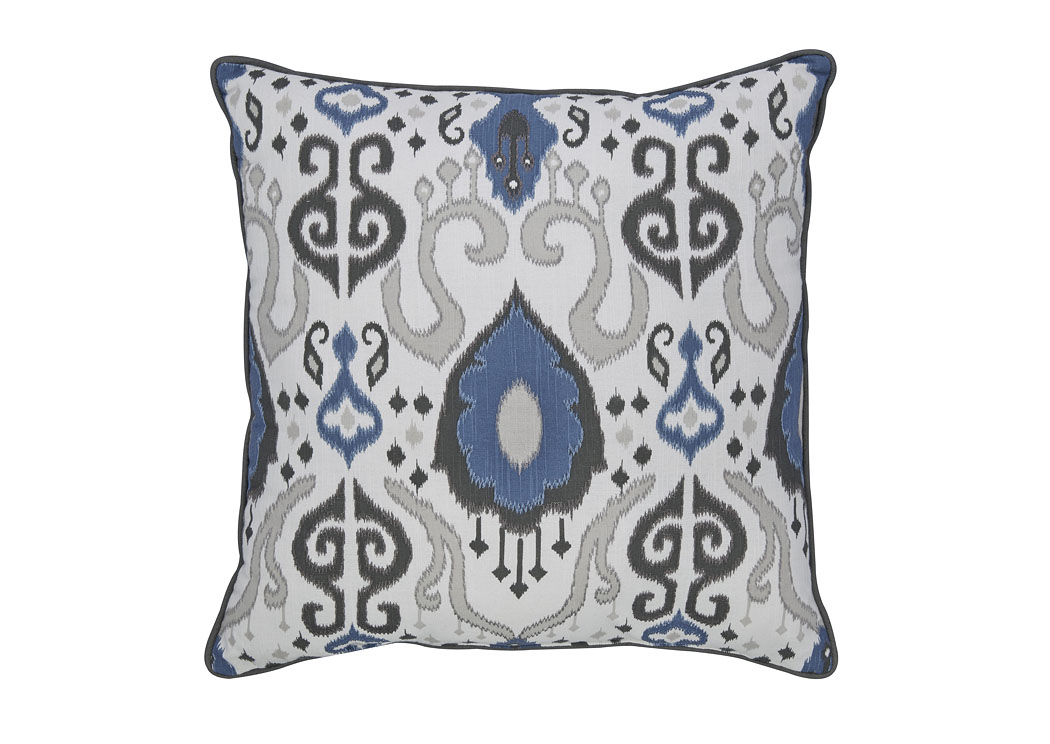 Damaria Blue/Ivory/Brown Pillow,48 Hour Quick Ship