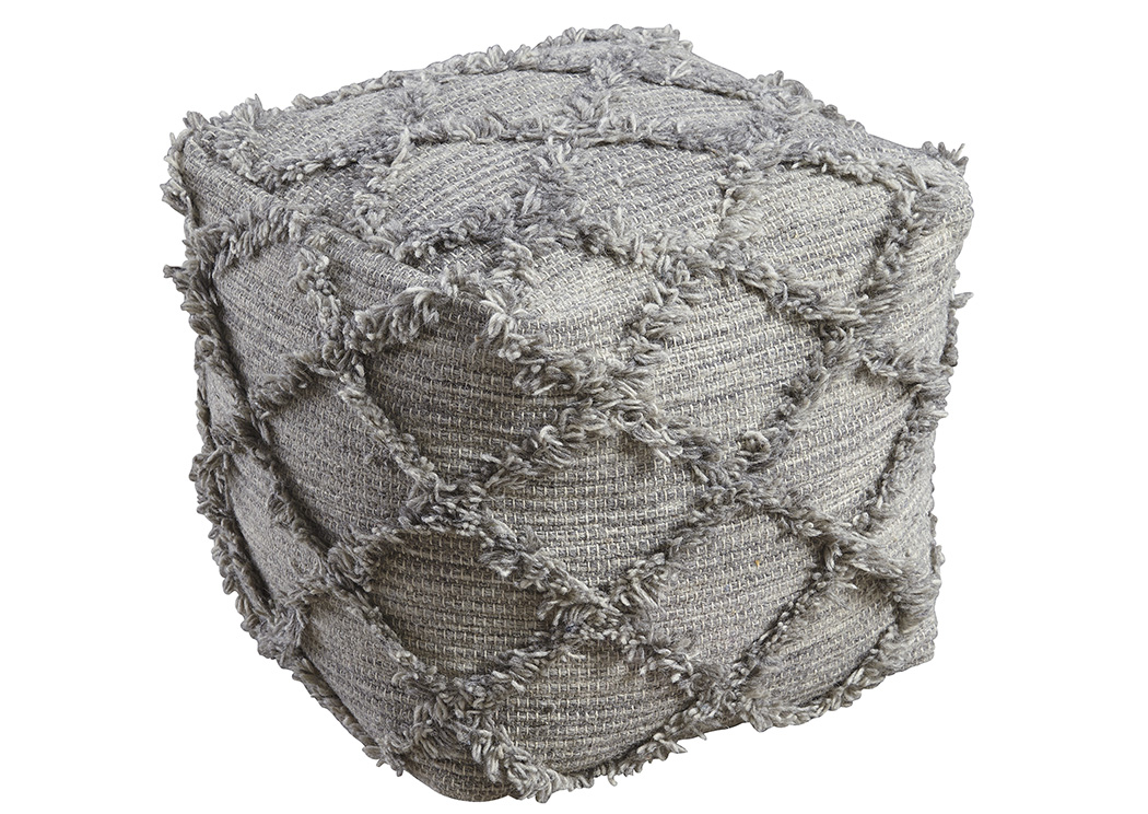 Adelphie Natural/Gray Pouf,Signature Design By Ashley