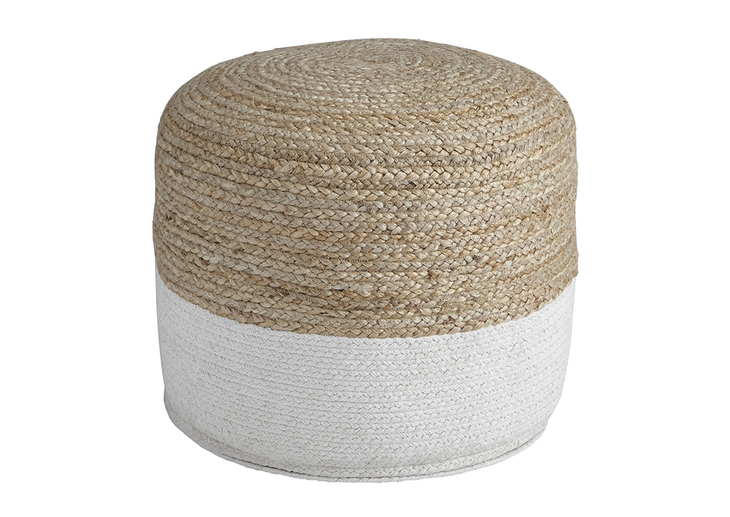 Sweed Valley Natural/White Pouf,Signature Design By Ashley