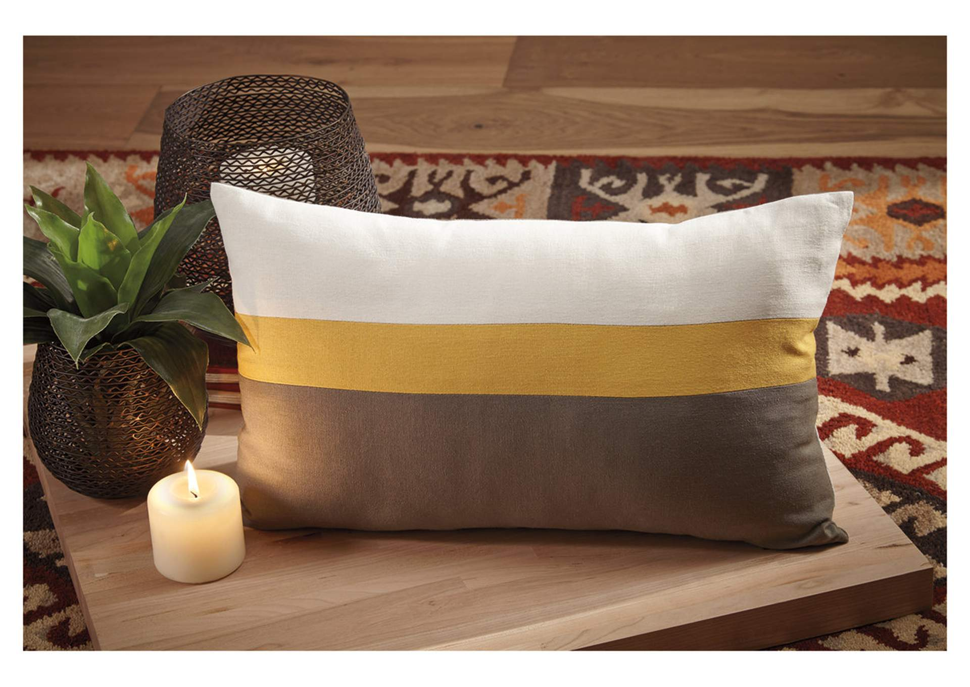 Jacop Gray/Yellow/White Pillow (4/CS),Signature Design By Ashley
