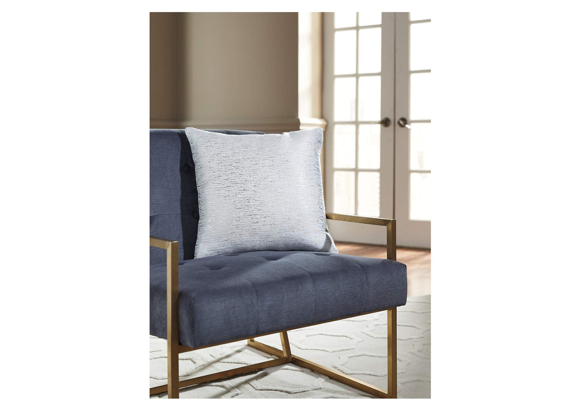 Tacey Off White/Silver Pillow (4/CS),Signature Design By Ashley