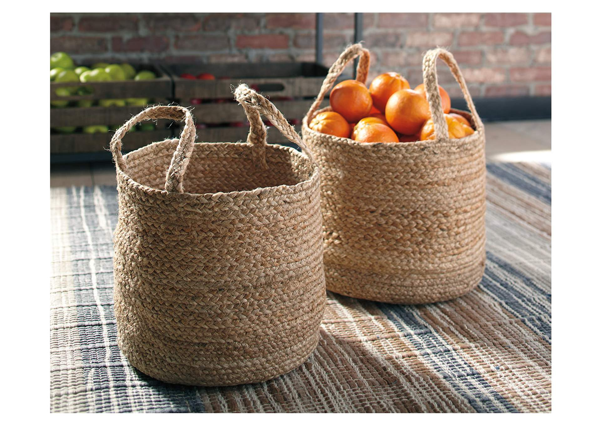 Brayton Natural Basket Set (Set of 2),Signature Design By Ashley