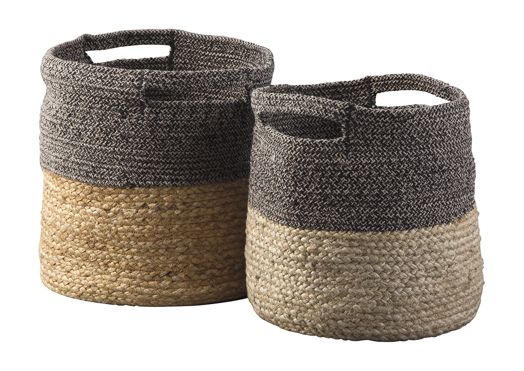 Parrish Natural/Black Basket Set (Set of 2),Signature Design By Ashley