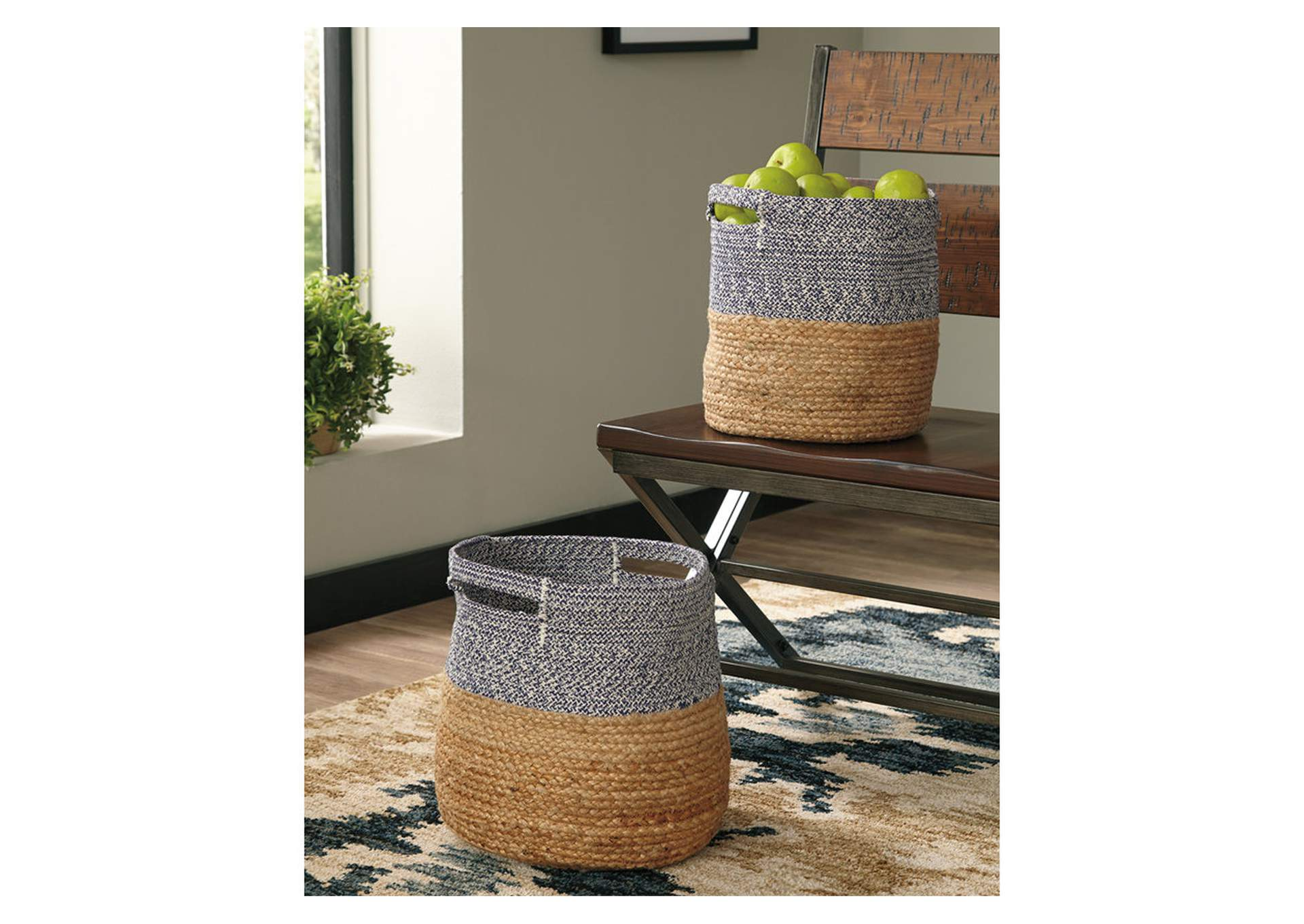 Parrish Natural/Blue Basket Set (Set of 2),Signature Design By Ashley