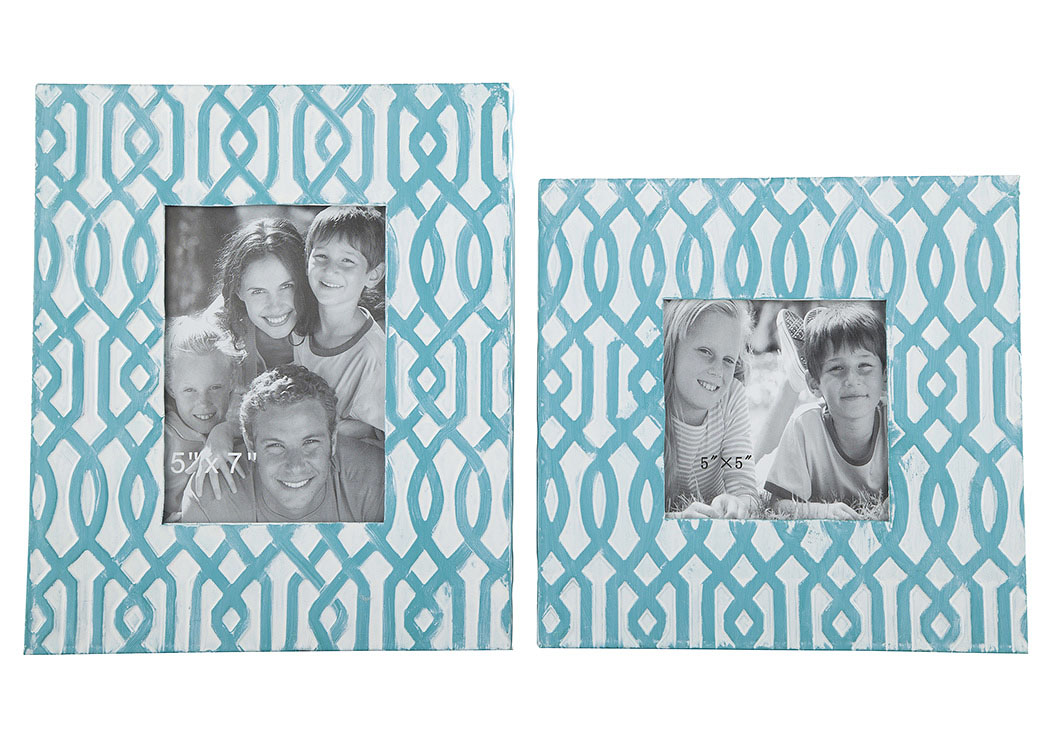 Baina Teal/White Photo Frame (Set of 2) (2/CS),Signature Design By Ashley