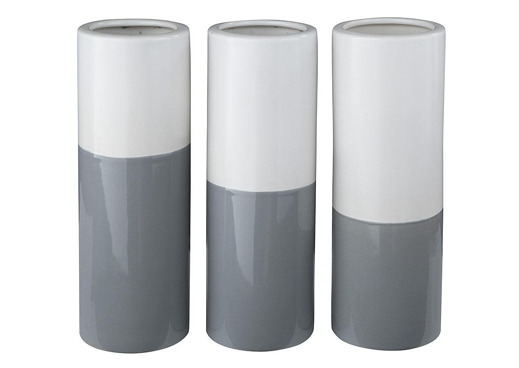 Ge Williams Furniture Co Dalal Graywhite Vase Set Of 3