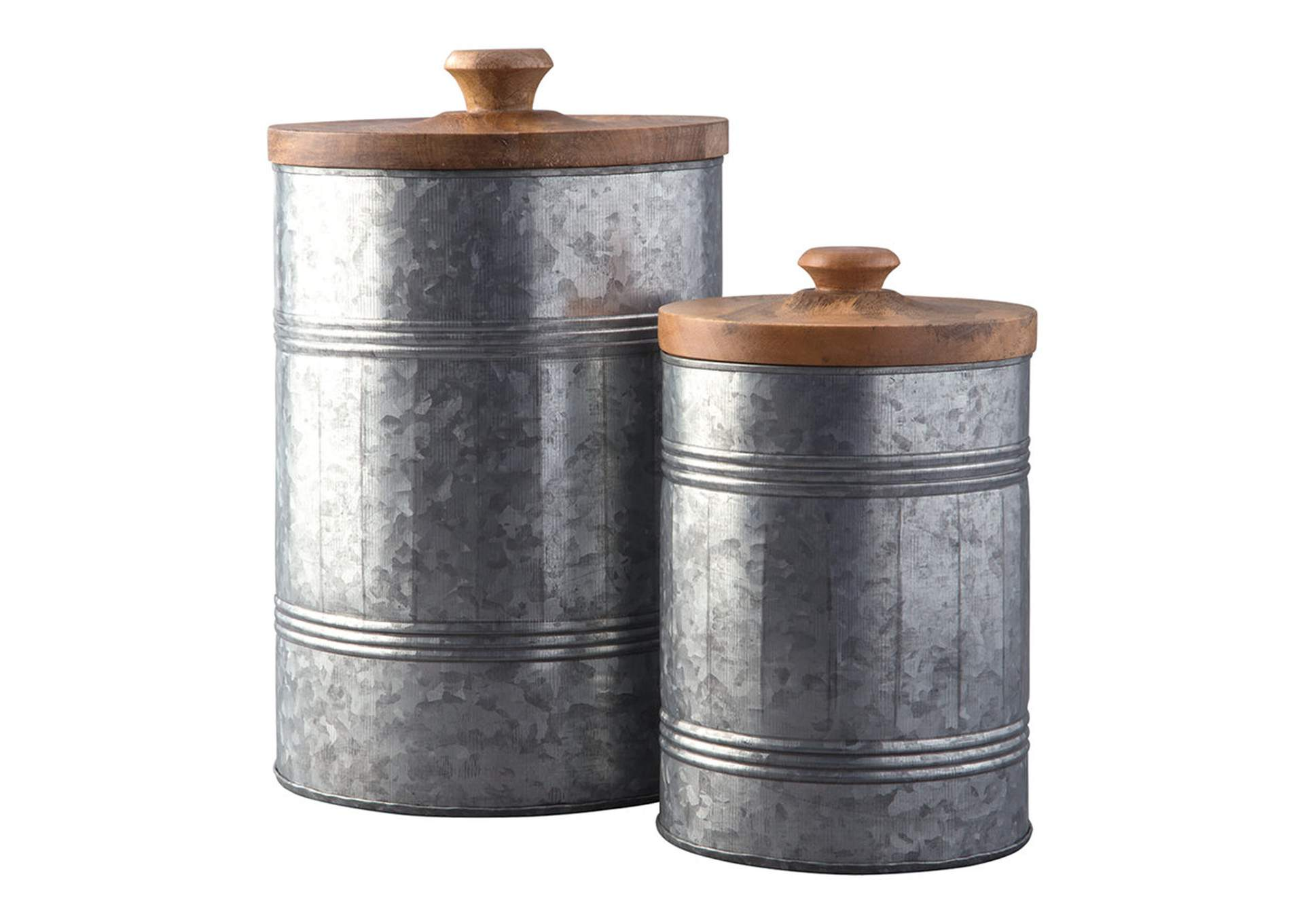 Divakar Antique Gray Jar Set (Set of 2),Signature Design By Ashley