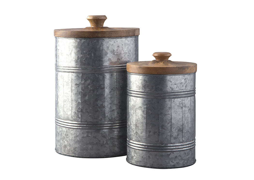 Divakar Antique Gray 2 Piece Jar Set,48 Hour Quick Ship