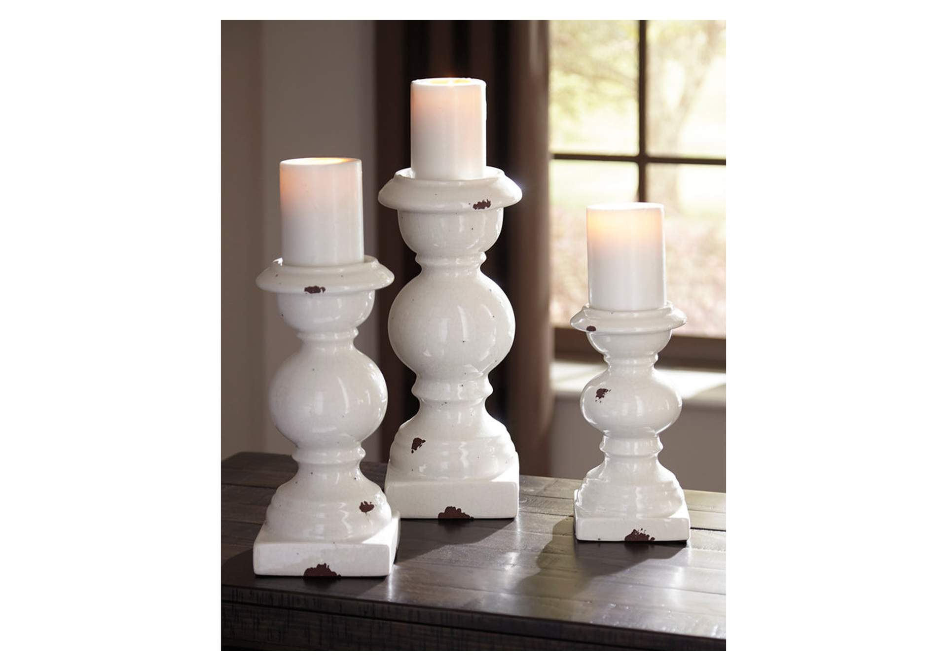 Devorah Antique White Candle Holder Set,Signature Design By Ashley